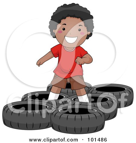 Royalty-Free (RF) Clipart Illustration of a Happy Black Boy In A Tire Obstacle Course by BNP Design Studio