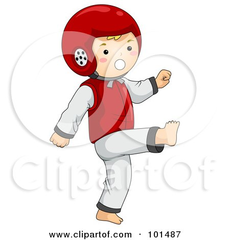 Royalty-Free (RF) Clipart Illustration of a Happy Boy Wearing A Helmet And Doing Taekwondo by BNP Design Studio