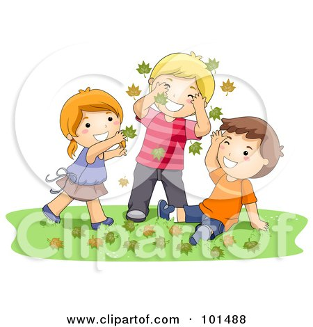Royalty-Free (RF) Clipart Illustration of a Girl And Two Boys Playing In Autumn Leaves by BNP Design Studio