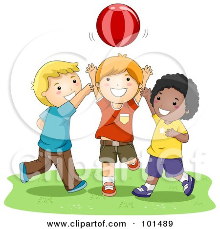 Royalty-Free (RF) Clipart Illustration of Three Happy Boys Playing Catch With A Ball by BNP Design Studio