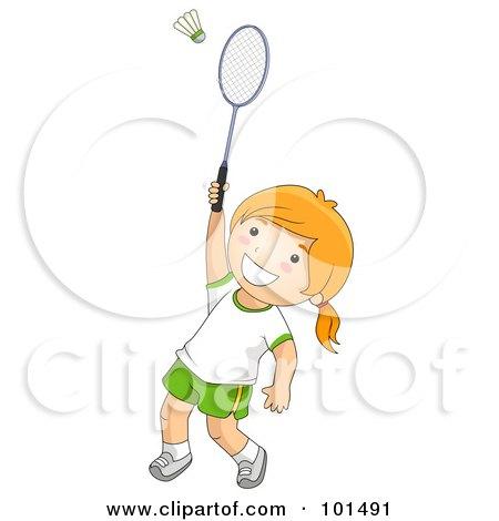 Badminton Players Girls Happy Girl Playing Badminton