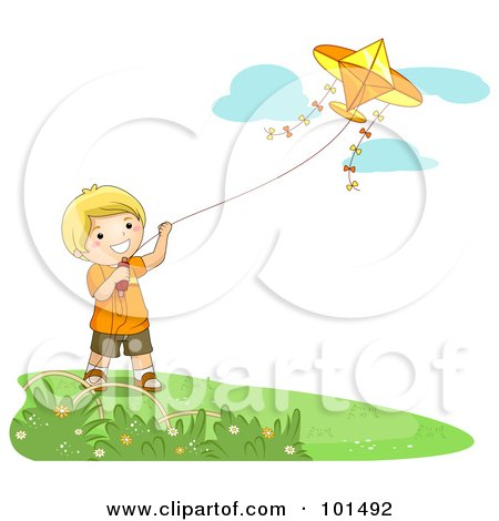 Royalty-Free (RF) Clipart Illustration of a Happy Blond Boy Flying A Kite On A Nice Day by BNP Design Studio