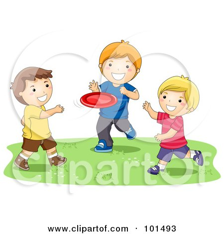 Royalty-Free (RF) Clipart Illustration of Three Happy Boys Playing With A Flying Disc by BNP Design Studio