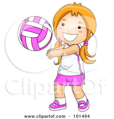 Royalty-Free (RF) Clipart Illustration of a Happy Girl Playing Volleyball by BNP Design Studio