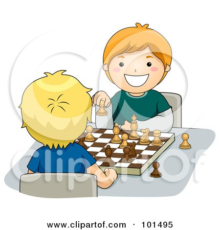 Royalty-Free (RF) Clipart Illustration of Two Happy Boys Playing A Game Of Chess by BNP Design Studio