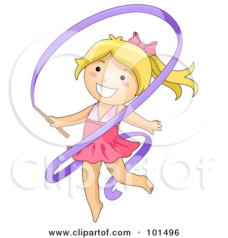 Royalty-Free (RF) Clipart Illustration of a Blond Gymnast Girl Dancing With A Ribbon by BNP Design Studio