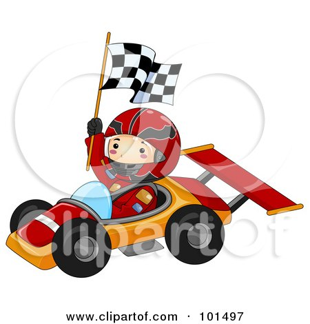 Royalty-Free (RF) Clipart Illustration of a Happy Boy Holding A Flag And Driving A Race Car by BNP Design Studio