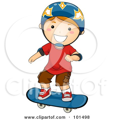 Happy Red Haired Boy Wearing A Helmet And Skateboarding Posters, Art Prints