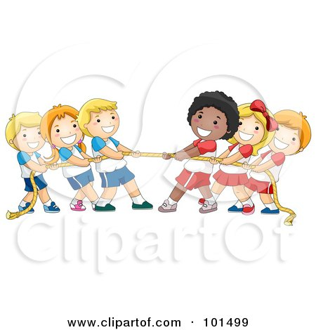 Group Of Diverse Children Playing Tug Of War With A Rope Posters, Art Prints