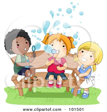 Royalty-Free (RF) Clipart Illustration of a Black Boy And White Girls Blowing Bubbles On A Bench by BNP Design Studio