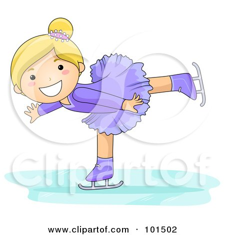 Royalty-Free (RF) Clipart Illustration of a Blond Girl Figure Skating In A Purple Uniform by BNP Design Studio