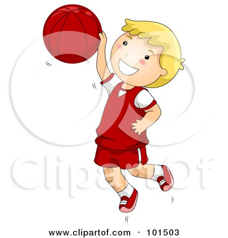Happy Blond Boy Jumping While Playing Basketball Posters, Art Prints