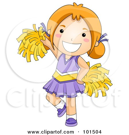 Royalty-Free (RF) Clipart Illustration of a Happy Red Haired Cheerleader Girl In Purple by BNP Design Studio