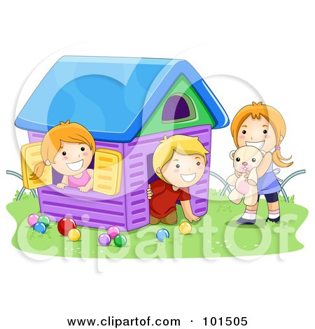 Royalty-Free (RF) Clipart Illustration of a Boy And Two Girls Playing In A Toy House by BNP Design Studio