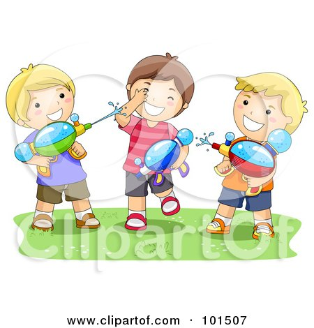 Royalty-Free (RF) Clipart Illustration of Three Boys Playing With Water Squirt Guns by BNP Design Studio