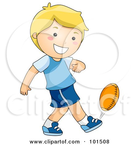 Royalty-Free (RF) Clipart Illustration of a Happy Blond Boy Kicking A Football by BNP Design Studio