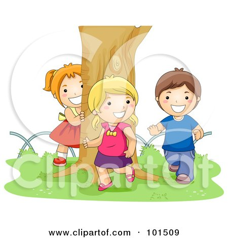 Royalty-Free (RF) Clipart Illustration of a Boy And Two Girls Chasing Each Other Around A Tree by BNP Design Studio