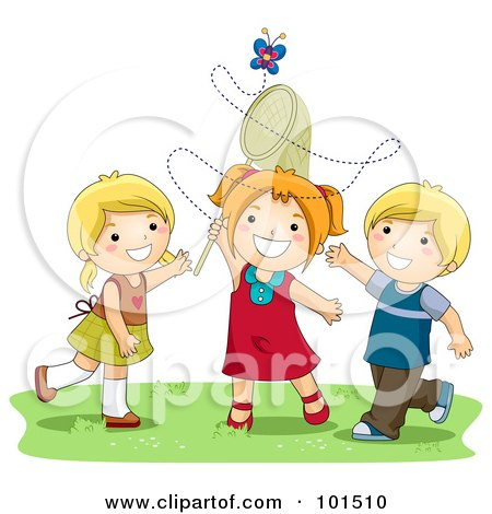 Royalty-Free (RF) Clipart Illustration of Two Girls And A Boy Trying To Catch A Butterfly With A Net by BNP Design Studio