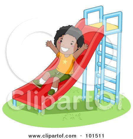 Royalty-Free (RF) Clipart Illustration of a Happy Black Boy Playing On A Slide by BNP Design Studio