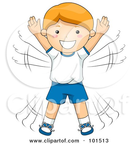 Royalty-Free (RF) Clipart Illustration of a Happy Red Haired Boy Doing Jumping Jacks by BNP Design Studio