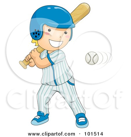 Royalty-Free (RF) Clipart Illustration of a Happy Blond Boy Batting At A Baseball by BNP Design Studio