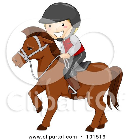 Royalty-Free (RF) Clipart Illustration of a Happy Boy Equestrian Riding A Horse by BNP Design Studio