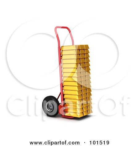 Royalty-Free (RF) Clipart Illustration of a 3d Red Hand Truck Loaded With Gold Bars by stockillustrations