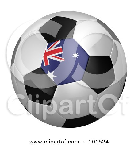 Royalty-Free (RF) Clipart Illustration of a 3d Australian Flag On A Traditional Soccer Ball by stockillustrations