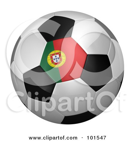 Royalty-Free (RF) Clipart Illustration of a 3d Portugal Flag On A Traditional Soccer Ball by stockillustrations
