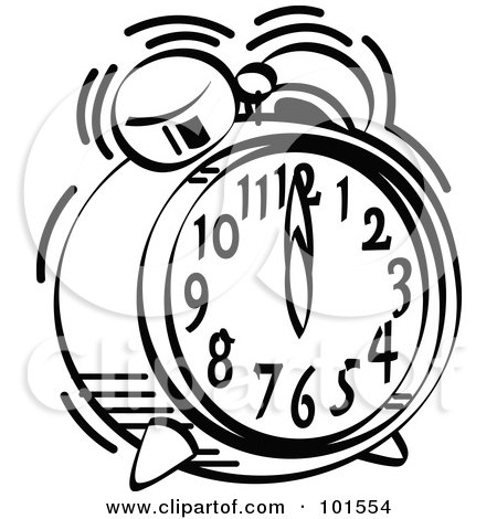 Royalty Free Rf Clipart Illustration Of A Black And White Alarm