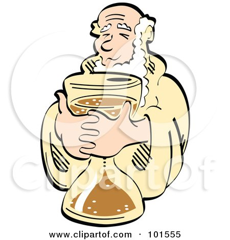 Royalty-Free (RF) Clipart Illustration of Father Time Holding An Hourglass by Andy Nortnik