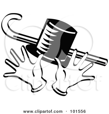 Royalty Free RF Clipart Illustration Of A Black And White Top Hat Cane And Jazz Hands