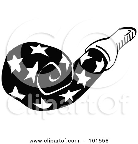 Royalty-Free (RF) Clipart Illustration of a Black And White Party Favor Noise Maker With Stars by Andy Nortnik