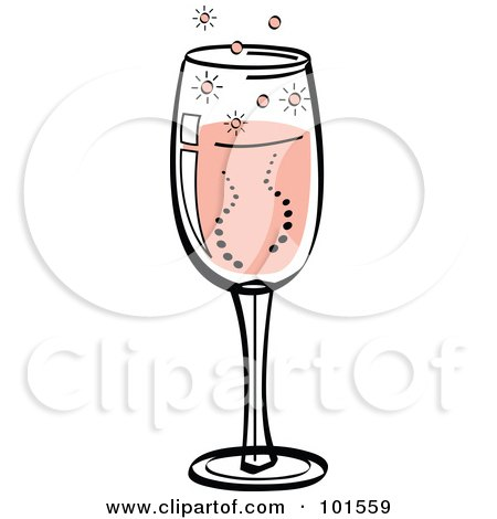 Royalty-Free (RF) Clipart Illustration of a Glass Of Bubbly Pink Champagne by Andy Nortnik