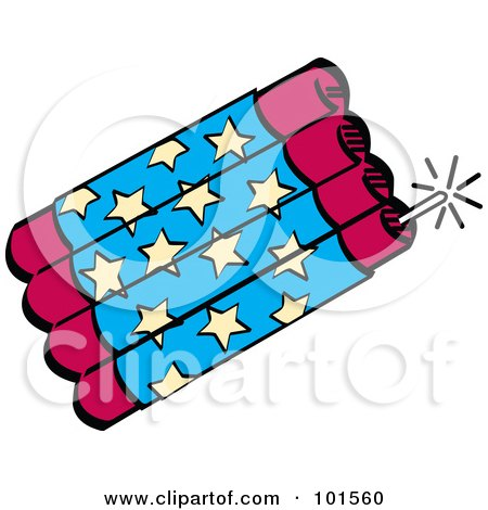 Royalty-Free (RF) Clipart Illustration of a Bundle Of Red And Blue Firecrackers With Stars by Andy Nortnik