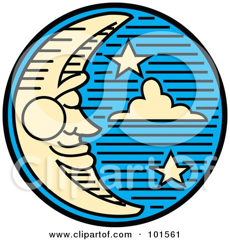 Royalty-Free (RF) Clipart Illustration of a Pleasant Crescent Moon Face And Stars In The Night Sky by Andy Nortnik