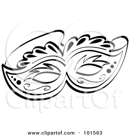 Royalty-Free (RF) Clipart Illustration of an Ornate Black And White Face Mask by Andy Nortnik
