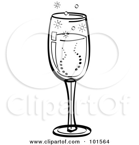 Royalty-Free (RF) Clipart Illustration of a Black And White Glass Of Bubbly Champagne by Andy Nortnik