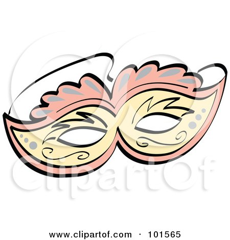 Royalty-Free (RF) Clipart Illustration of an Ornate Pink And Yellow Eye Mask by Andy Nortnik