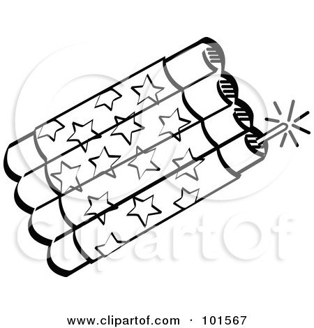 Royalty-Free (RF) Clipart Illustration of a Bundle Of Patriotic Black And White Firecrackers With Stars by Andy Nortnik