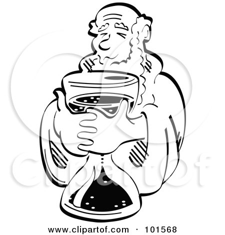Royalty-Free (RF) Clipart Illustration of a Black And White Father Time Holding A Timer, Counting Down To A New Year by Andy Nortnik
