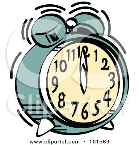 Royalty-Free (RF) Clipart Illustration of a Green Alarm Clock Ringing At Midnight Or Noon by Andy Nortnik