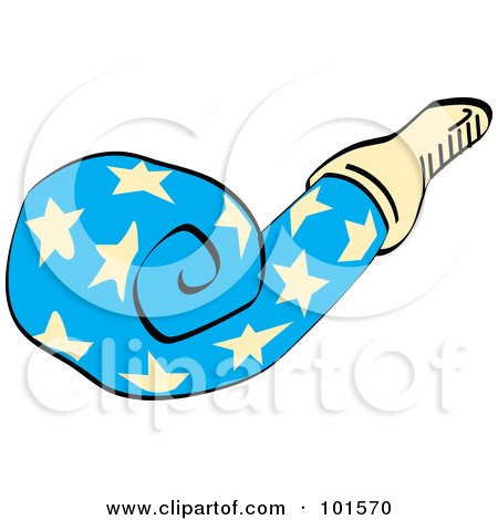 Royalty-Free (RF) Clipart Illustration of a Blue Party Favor Noise Maker With Stars by Andy Nortnik