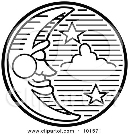 Royalty-Free (RF) Clipart Illustration of a Black And White Crescent Moon Face And Stars In The Night Sky by Andy Nortnik