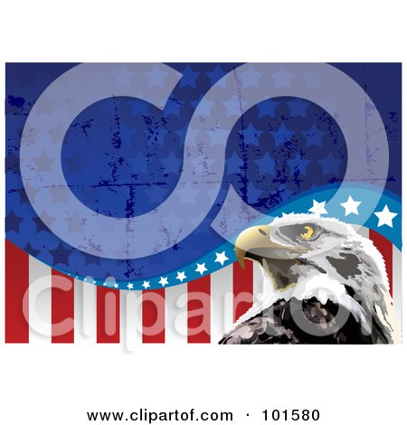Royalty-Free (RF) Clipart Illustration of a Bald Eagle Head And Grungy American Flag Background by Pushkin