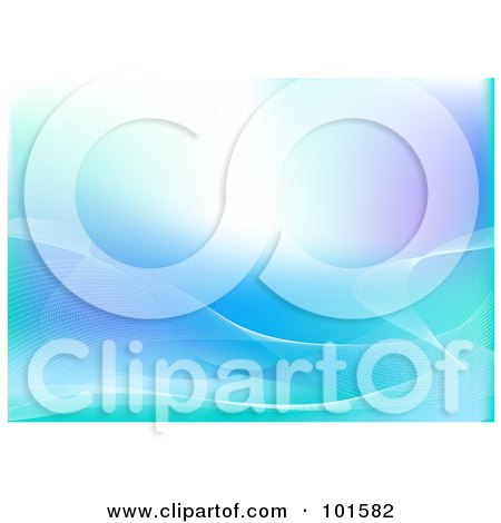 Royalty-Free (RF) Clipart Illustration of a Blue Communications Background With Flowing Mesh Waves by Pushkin