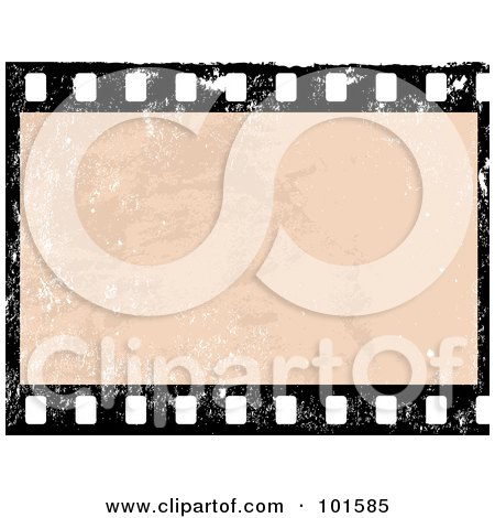 Royalty-Free (RF) Clipart Illustration of a Grungy Blank Film Frame With Distress Marks by Pushkin