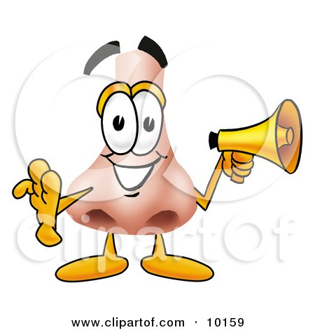 Clipart Picture of a Nose Mascot Cartoon Character Screaming Into a Megaphone by Toons4Biz