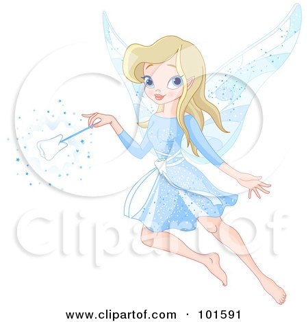 Royalty-Free (RF) Clipart Illustration of a Beautiful Blond Tooth Fairy In Blue, With A Tooth Wand by Pushkin