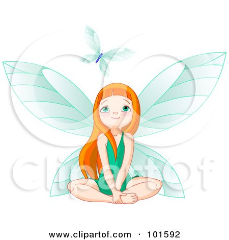 Royalty-Free (RF) Clipart Illustration of a Red Haired Fairy Girl In A Green Dress, Looking Up At A Butterfly by Pushkin
